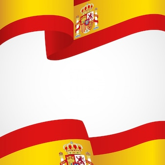 Bandiera della spagna su bianco