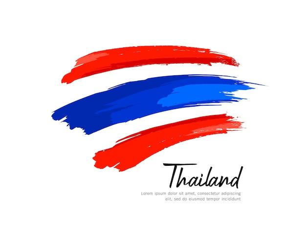Bandiera della thailandia design tratto di pennello isolato su sfondo bianco, illustrazione