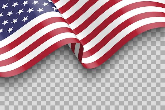 Bandierina degli stati uniti d'america. sventolando la bandiera degli stati uniti isolato con ombra.