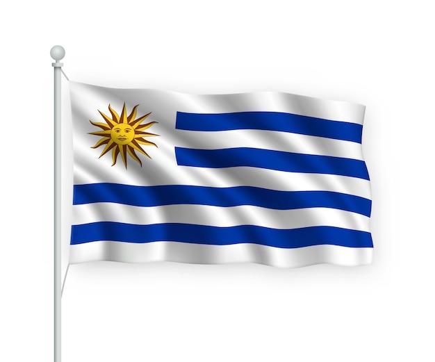 Bandiera uruguay sul pennone isolato su bianco