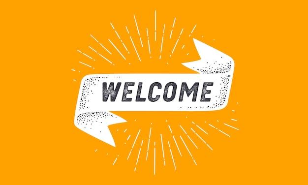 Segnala benvenuto. bandiera della bandiera della vecchia scuola con testo di benvenuto.