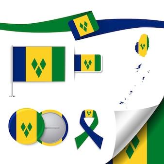 Bandiera con elementi saint vicent e grenadine