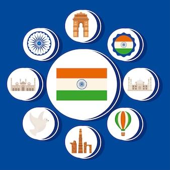 Bandiera con il set di elementi del giorno dell'indipendenza dell'india felice