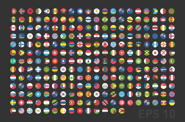 Bandiere di tutti i paesi rotonde pulsanti web in piano. eps vettoriale 10