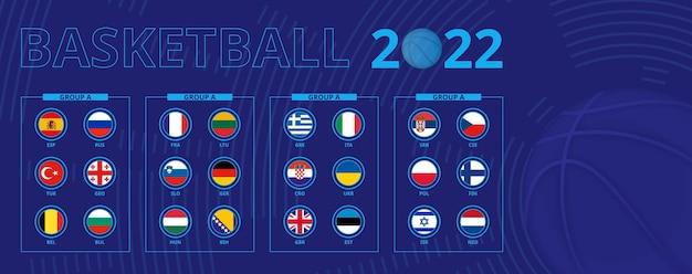 Bandiere di qualificazione del torneo europeo di basket, ordinate per gruppo. bandiera impostata.