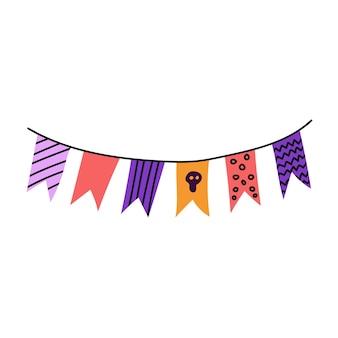 Ghirlanda di bandiere illustrazione piatta vettoriale su sfondo bianco decor per halloween