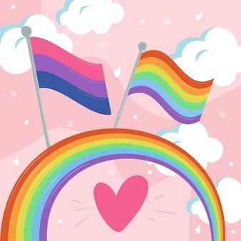 Bandiere su arcobaleno e nuvole