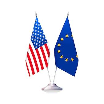 Bandiere degli stati uniti d'america e dell'unione europea isolate su priorità bassa bianca. relazioni tra usa e ue. illustrazione vettoriale