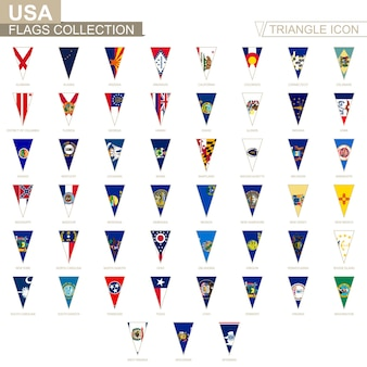 Bandiere degli stati usa, tutte le bandiere statali. icona del triangolo.