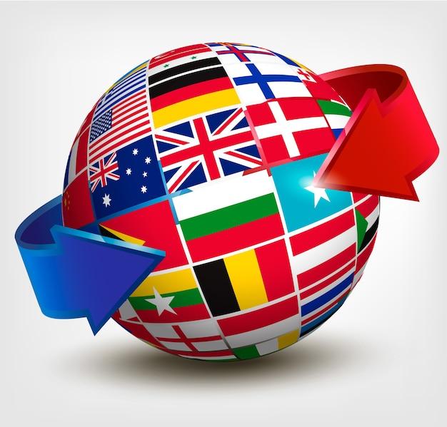 Bandiere del mondo nel globo con una freccia