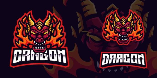 Modello di logo della mascotte del gioco del drago della fiamma per lo streamer di esports facebook youtube