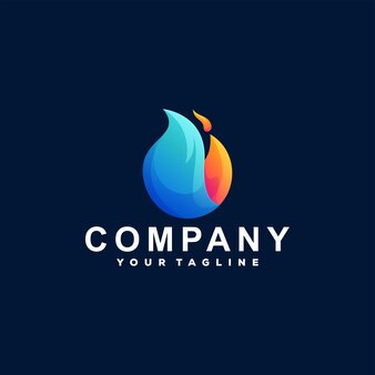 Fiamma fuoco gradiente logo design