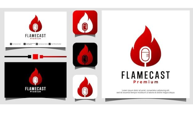 Design del logo del podcast del fuoco della fiamma