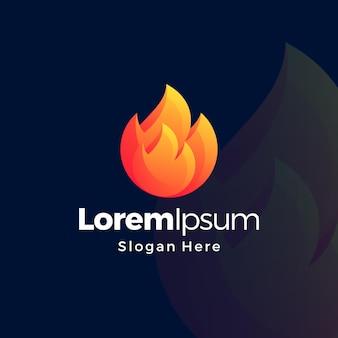 Logo premium di colore sfumato di fiamma
