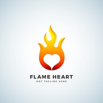 Segno, simbolo o logo astratto del cuore della fiamma. concetto di emblema dello spazio negativo.