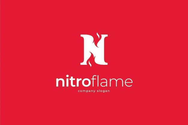 Modello di fiamma lettera n logo