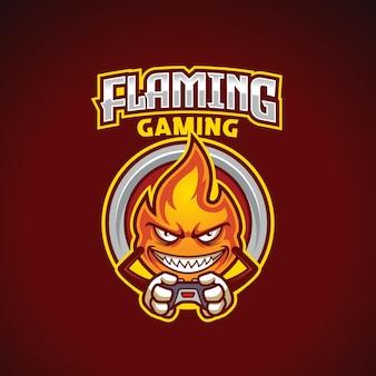 Modello di logo esport del giocatore della mascotte della fiamma