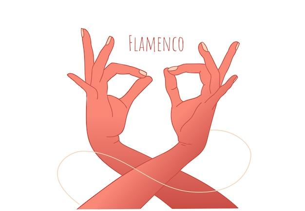 Concetto di danza flamenco. belle mani aggraziate del ballerino. cultura spagnola.