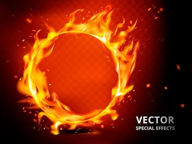 Elemento cerchio fiammeggiante che può essere utilizzato come effetto speciale, sfondo rosso