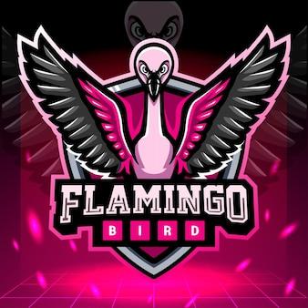 Design del logo esport della mascotte dell'uccello del fenicottero