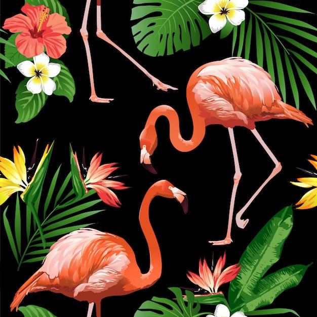 Priorità bassa dell'uccello e dei fiori tropicali del fenicottero