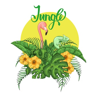 Invito a una festa fenicottero e camaleonte. manifesto tropicale hawaiano.