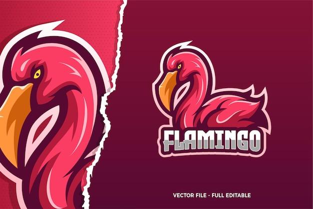 Modello di logo del gioco flamingo e-sport