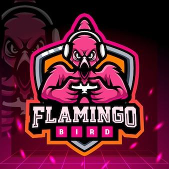 Design del logo esport della mascotte del gioco flamingo