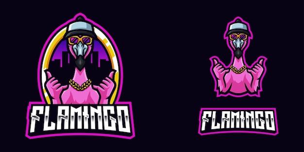 Logo della mascotte del gioco flamingo per lo streamer e la community di esports