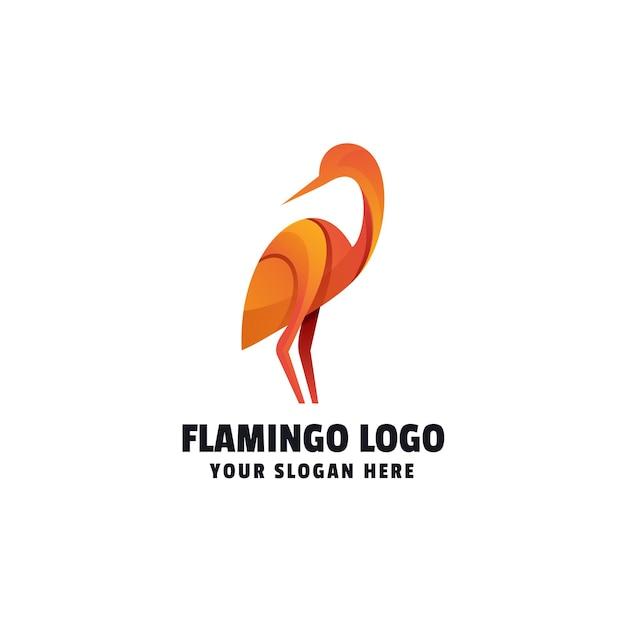 Modello di logo colorato sfumato fenicottero