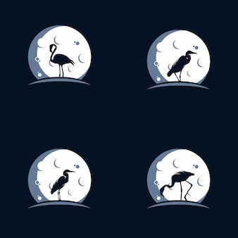 Logo flamingo and heron in the moon