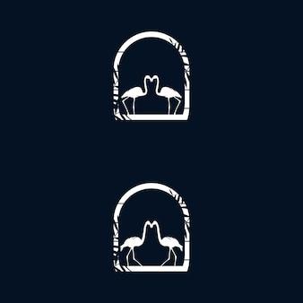 Modello di vettore dell'illustrazione del logo del fenicottero