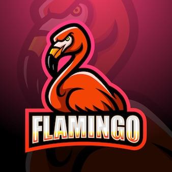 Flamingo mascotte esport illustrazione