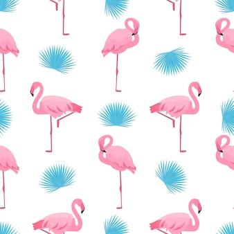 Fenicottero e foglia di palma. reticolo senza giunte tropicale di estate. utilizzato per superfici di design, tessuti, tessuti, carta da imballaggio, carta da parati.