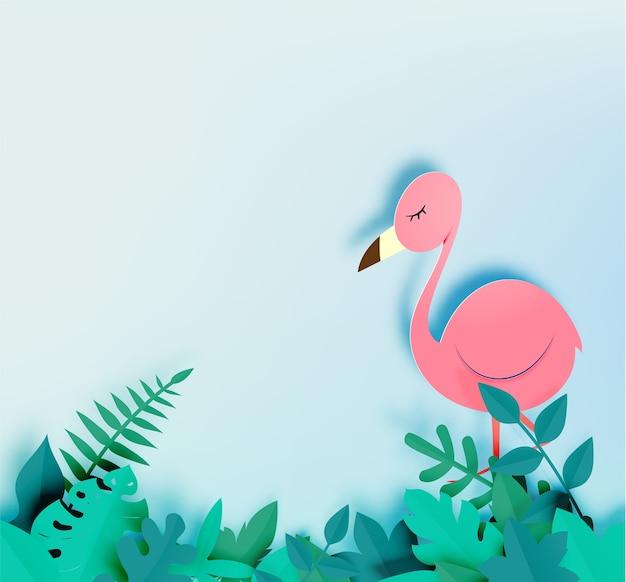 Fenicottero nello stile di arte di carta con l'illustrazione di vettore del fondo della giungla