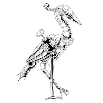 Illustrazione in bianco e nero di steampunk del fenicottero