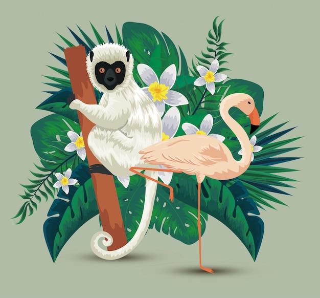 Flamish con lemure e fiori piante con foglie