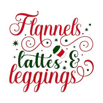Latte e leggings di flanella elemento tipografico unico design vettoriale premium