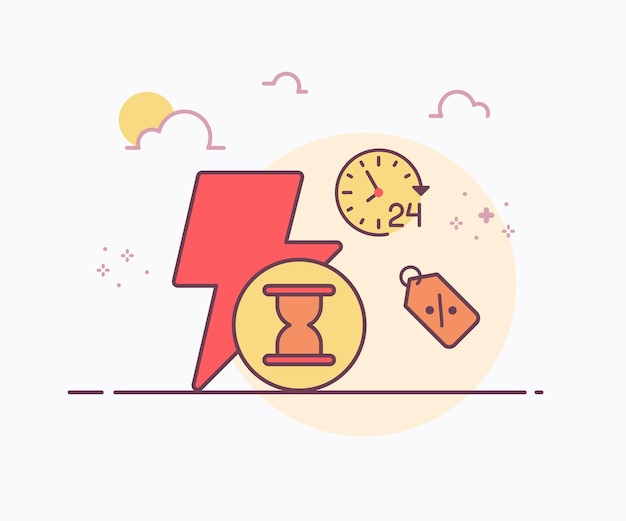 Icona dell'ora del vetro della sabbia del prezzo dell'etichetta del lampo di concetto di sconto istantaneo con l'illustrazione di disegno di vettore di stile di linea continua di colore morbido