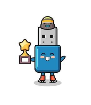Cartone animato usb flash drive come un giocatore di pattinaggio sul ghiaccio con trofeo vincitore, design in stile carino per t-shirt, adesivo, elemento logo