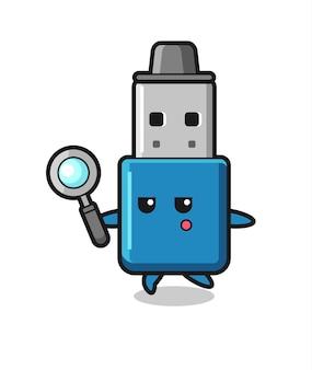 Personaggio dei cartoni animati usb su chiavetta usb che cerca con una lente di ingrandimento, design in stile carino per maglietta, adesivo, elemento logo