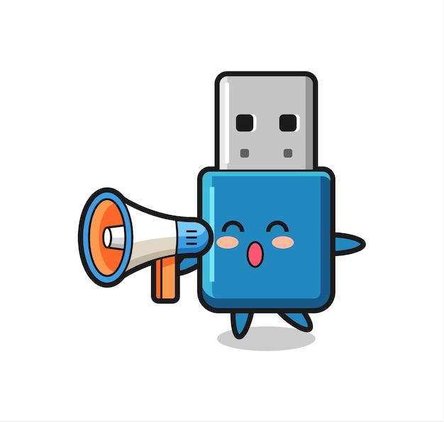 Illustrazione del carattere usb dell'unità flash che tiene un megafono, design in stile carino per maglietta, adesivo, elemento logo
