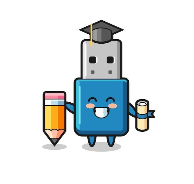 Il fumetto dell'illustrazione del flash drive usb è la laurea con una matita gigante, un design carino in stile per maglietta, adesivo, elemento logo