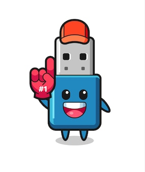 Fumetto dell'illustrazione del usb dell'unità flash con il guanto dei fan numero 1, design in stile carino per t-shirt, adesivo, elemento logo