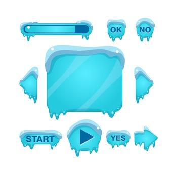 Schermata del gioco flash e pulsanti coperti di ghiaccio