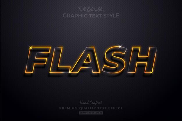 Flash neon arancione modificabile effetto testo stile carattere