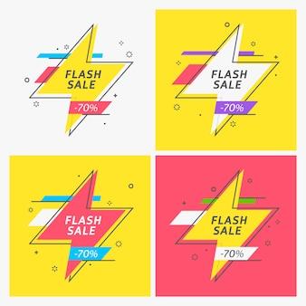 Banner nastro flash, scorrimento, cartellino del prezzo, adesivo, badge