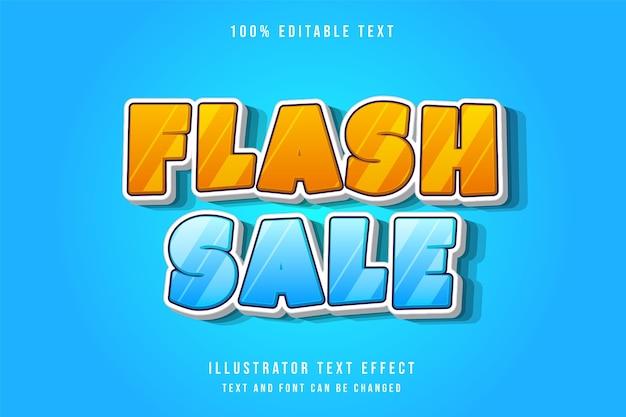 Vendita flash, 3d testo modificabile effetto moderno blu gradazione giallo stile di testo comico