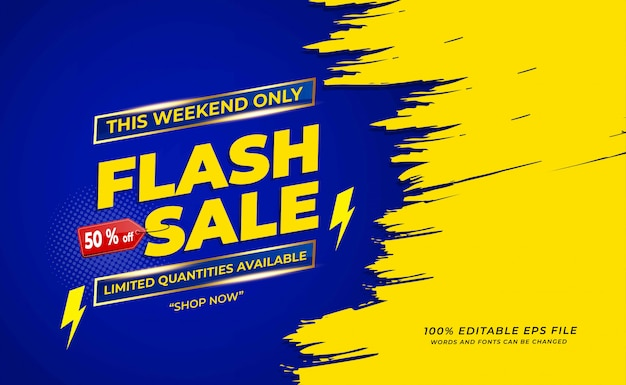 Sfondo vendita flash con grunge o pennello