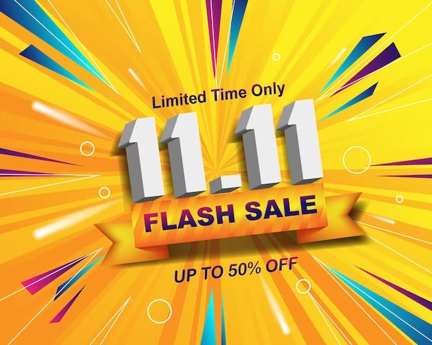 Modello di sfondo banner vendita flash per l'evento di vendita 11.11